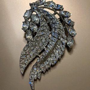 Crystal Encrusted Angel Wing Brooch